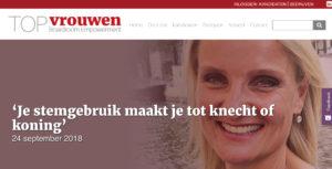 Anneke Brouwer Sprekerscoach 'Je stemgebruik maakt je tot knecht of koning' interview in nieuwsbrief edititie 8 topvrouwen.nl
